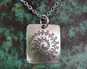Koru Fern Spiral Necklace, SMALL Etched Stainless Steel - Growth, Renewal, Eternity, Peace, Life, Maori