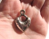 Beautifully Detailed Vintage Puffy Antiqued Silver Heart Pendant/Charm, Two Sided