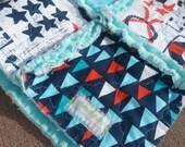 Minky Rag Quilt Ahoy Matey Nautical Security Blanket