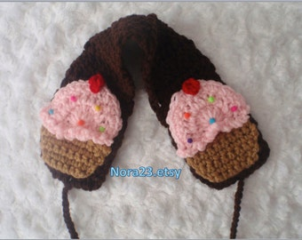 crochet ear covers muff cupcake headband chocolate