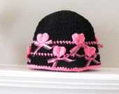 Ladies Adult Crochet Bucket Style Cloche Black with Hot Pink Hearts and Ribbon Valentines Hat Crocheted Handmade New