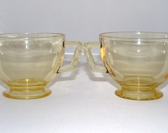 Two Footed FOSTORIA MAYFAIR Yellow Tea Cups