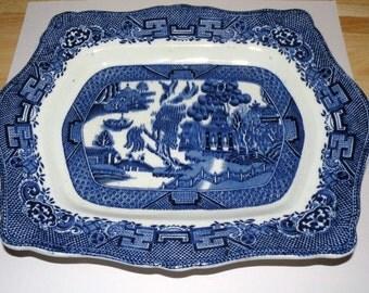Edwardian English Blue Willow Serving Platter 9 X 11