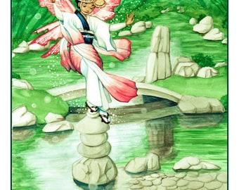 Awa-Odori Limited Edition Fairy Print - MATTED Navy/Hunter