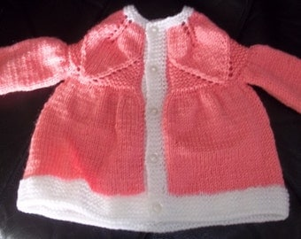Pretty in Pink Baby Cardigan Sweater Hand Knitted