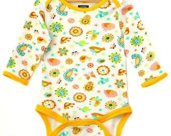 Handmade / Bodysuit / bird / baby clothes - Birds of a Feather