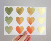 48 Medium Gold Heart Stickers - Gold Foil