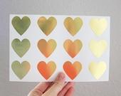 48 Medium Gold Heart Stickers - Gold Foil