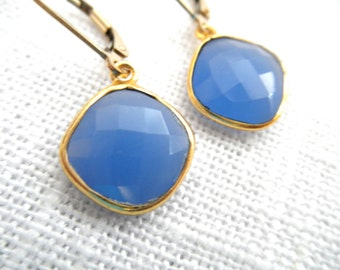Square Blue Chalcedony earrings - blue earrings - gold earrings - E A R R I N G S 034