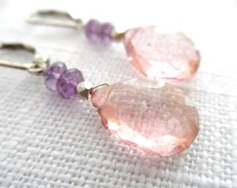 Mystic pink quartz earrings - amethyst earrings - silver earrings - pink earrings -  L A U R E N 069