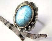 Super Glowing Blue Teal Aqua Labradorite Organic Ring