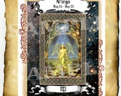 "Digital Graphic ""Virgo Illuminated"" - Clipart Page, Zodiac Wiccan Pagan BoS Book of Shadows"