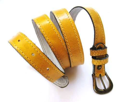 Women's Leather Belt - Skinny Leather Belt - in BIG YELLOW TAXI