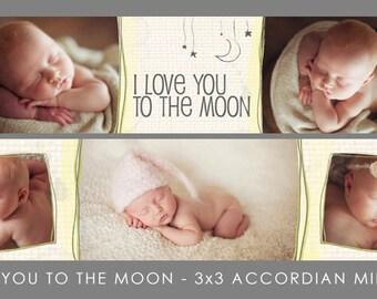 I Love You To The Moon - Accordion Mini Book Template