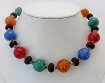 Red, Green, Orange and Blue Mosaic Glass and Wood Necklace with Matching Earrings