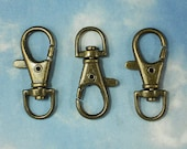 4 Large Lobster Claw Clasps Bronze Swivel Steampunk 38mm Key Rings (P1094)