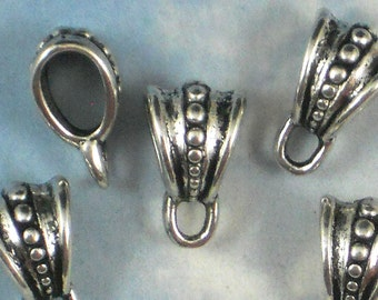 BuLK 50 Silver Pendant Bails with Loop Dotted Bali Style Charm Holder 16mm (P735 -50)