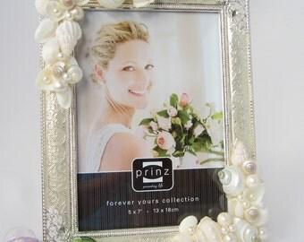 Beach Wedding Frame, Beach Decor Seashell Frame, Nautical Shell Frame, Silver Wedding Frame, Silver Anniversary Frame w Pearls, 5x7 or 8x10
