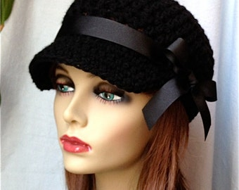 SALE Womens Hat, Teen Adult Black Newsboy, Black Ribbon, Gifts for Her, Birthday Gifts JE148NR2