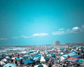 Photograph of Blue Nautical Coastal Jersey Shore Seaside Ocean Beach with Sea of Umbrellas Summer Art Print Beachy East Coast Home Decor