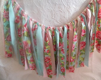 Free USA Shipping/Shabby Chic Fabric Banner/Fabric Rag Banner/Banner/Pennant/Fabric Flags/Photo Prop/Banner/Bunting/Aqua Fabric Banner