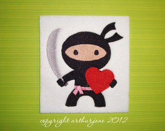 Ninja Love 2, INSTANT DIGITAL DOWNLOAD, Valentine Embroidery Design for Machine Embroidery 4x4