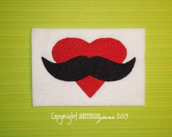 Mustache Love, INSTANT DIGITAL DOWNLOAD, Valentine Embroidery Design for Machine Embroidery 4x4