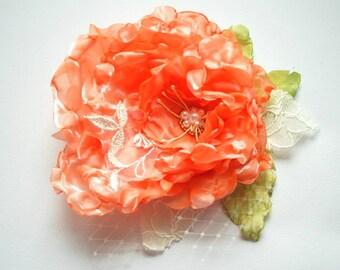 Coral Red Orange Bridal Hair Flower, Fall Weddings Accessories, Orange Bridal Hair Clip, Bridesmaids Brooch Fascinator, Flower for Sash