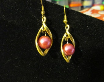 Earrings - Golden Hot Pink