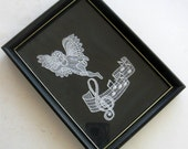 Vintage Brugge Lace Angel Framed Lace Handmade Belgium Lace Brugge Music Staff Picture 1980s