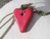 Chunky Red Heart Polymer Clay Pendant