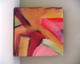 Small Abstract Painting Contemporary Bold Colorful Pink Gold Art Gallery Wrap Canvas