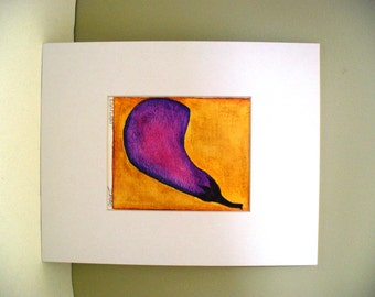 Purple Eggplant Drawing Kitchen Art Chef Foodie Gift
