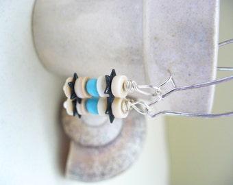 Silver Earrings Black White Turquoise Star Art Deco Vintage Beads