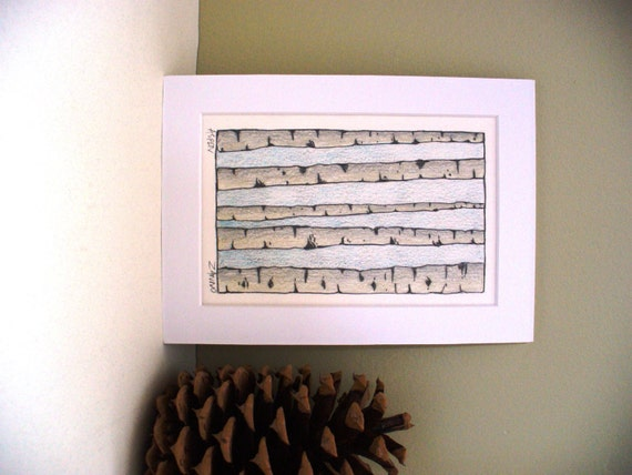 Aspen Tree Art Drawing White Birch Bark Park City Utah Artist