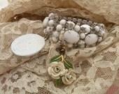 VIRGIN vintage assemblage bracelet religious wide white faith fall autumn fresh