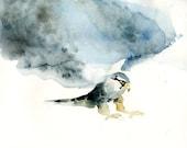 PEREGRINE FALCON Original watercolor painting 10X8inch