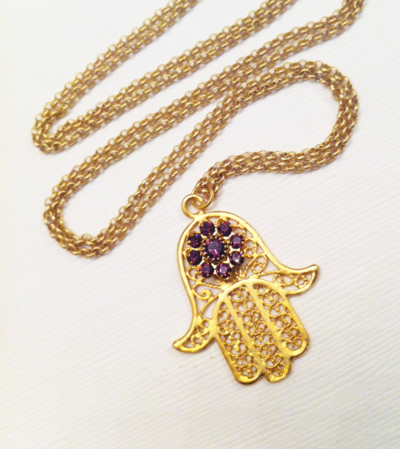 Necklace Hamsa Hand 18k Matte Gold Pendant and Chain Amethyst