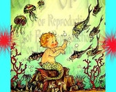 mb35 VINTAGE ART NOUVEAU  Mermaid Merbaby Merboy Mermaid Fabric Block Panel for Quilt.