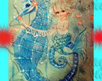 VINTAGE MERMAID Fabric 1950's Retro Baby Mermaid Quilt Fabric Block Mermaid illustration merb25.
