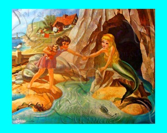 s474 Colorful FABRIC APPLIQUE Vintage The Little  Mermaid Fabric Block Applique Mermaid Quilting Quilts.