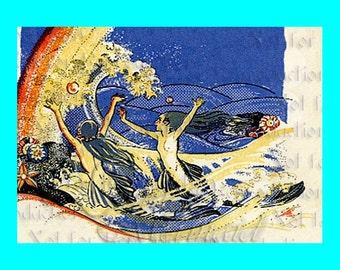s501 Vintage ART NOUVEAU MERMAIDS Print Quilt Cotton Fabric Blocks Mermaids Panel for Quilting.