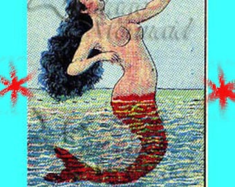 s121 Mermaid Fabric Mexican Art Folklore Loteria Mermaid LA SIRENA Quilting Fabric Block Applique for Quilt.