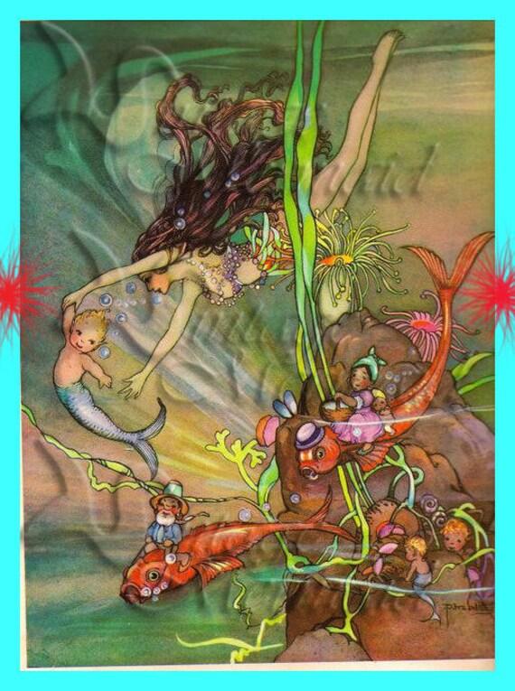 ART NOUVEAU MERMAID Fairy Tale Mermaid Merbaby Postcard Quilt : art nouveau quilts - Adamdwight.com