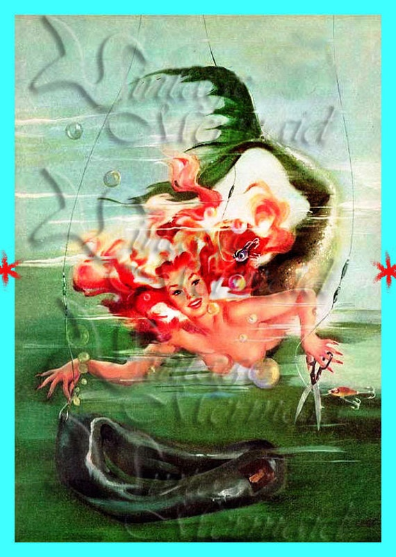 s275 VINTAGE PINUP MERMAID Poster Postcard Fabric Block Mermaid Applique for Quilt.