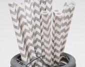 100 Elephant Grey Chevron Paper Straws - Perfect for Parties - Favors--Free Editable DIY Tags PDF