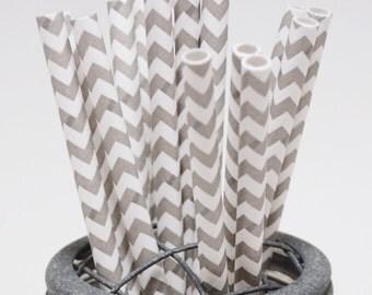 50 Elephant Grey Chevron Paper Straws - Perfect for Parties - Favors--Free Editable DIY Tags PDF