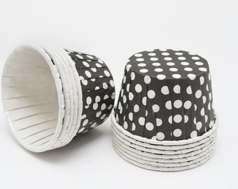 Polka Dot Nut or Portion Paper Baking Cups - Black and White - set of 24
