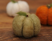 Needle Felted Green Pumpkin in Sage Green Wool