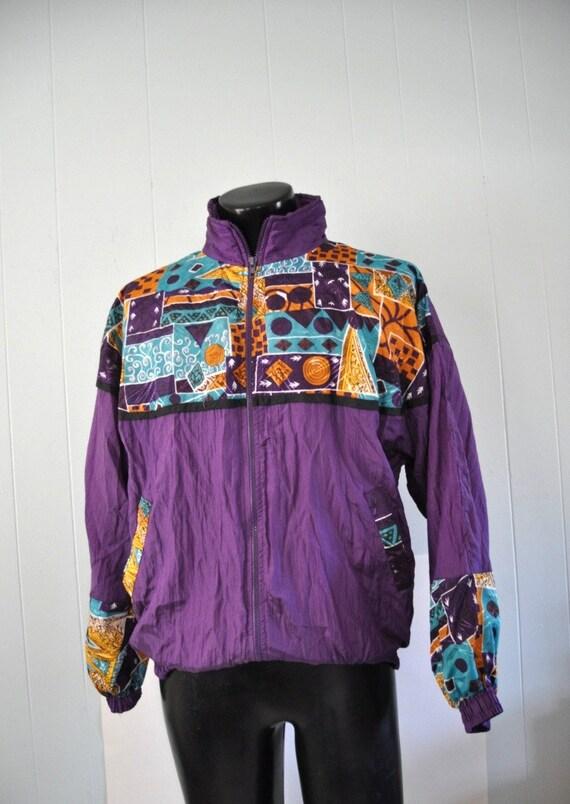Vintage Windbreaker Jacket Purple Blue Orange 90s Ladies Large